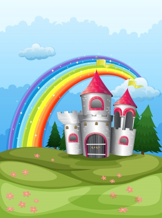hilltop: Illustration of a castle at the hilltop with a rainbow