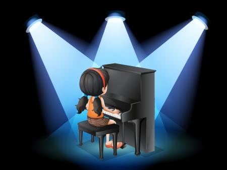 yetenekli: Piyano ile oynayan bir yetenekli genç kızın İllüstrasyon