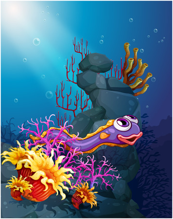 eel: Illustration of an eel under the sea with coral reefs Illustration