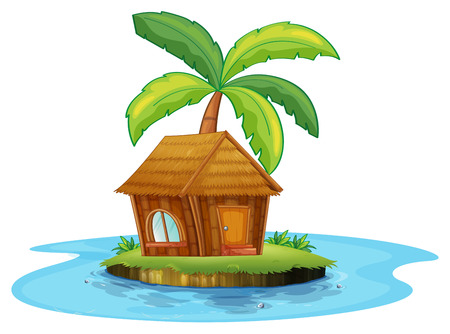 coconut tree: Illustration of an island with a nipa hut and a palm tree on a white background