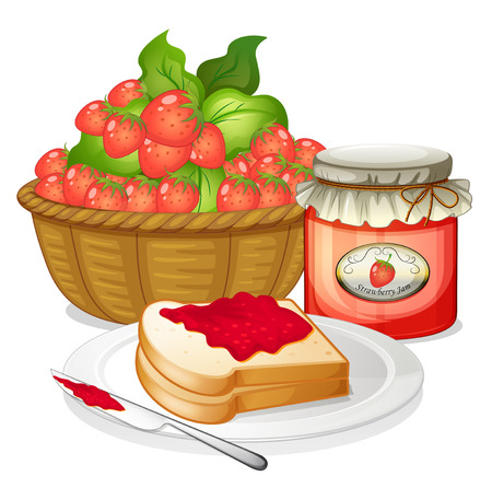 sandwich white background: Illustration of the strawberries, strawberry jam and a sandwich on a white background Illustration