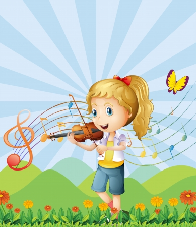 Illustration of a girl at the hilltop playing with her violin Vector