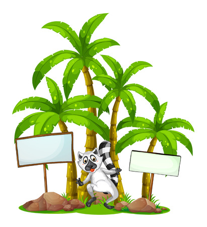 Illustration of a lemur in the middle of the empty signboards in front of the palm trees on a white background Vector