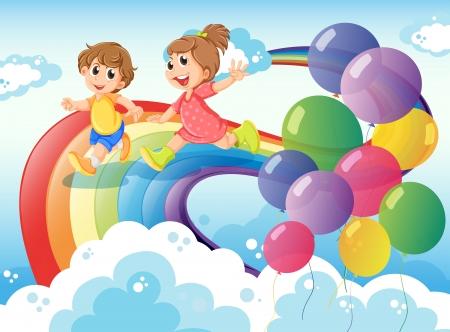 playmates: Ilustración de los niños jugando con el arco iris en el cielo Vectores
