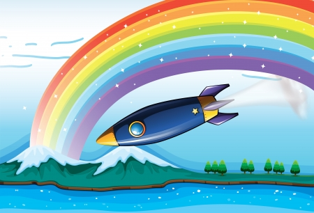 Illustration of a rainbow with sparkling stars and an aircraft Vector