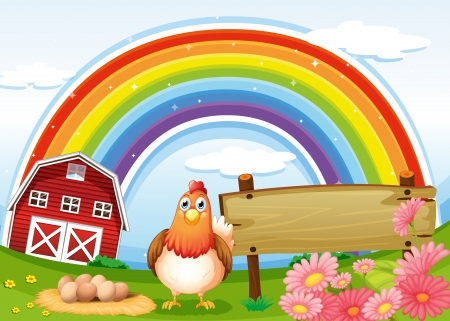 egg laying: Illustration of a hen at the farm with a rainbow and an empty signboard