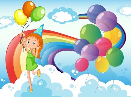Illustration of a young girl at the sky with balloons and rainbow Vector