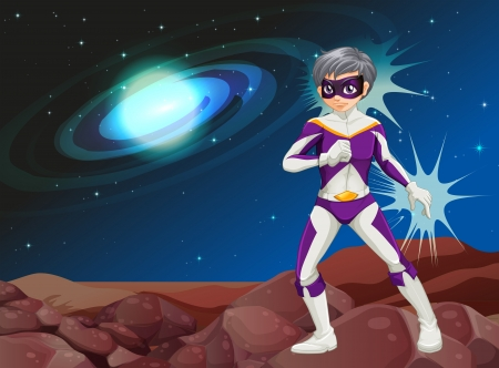 Illustration of a male hero at the outer space Stock Vector - 25532043