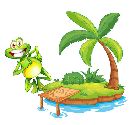 Illustration of an island with a playful and smiling frog on a white background Vector
