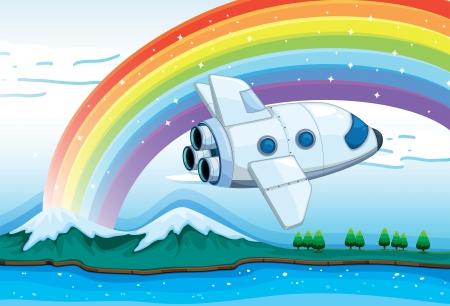 jetplane: Illustrazione di un jetplane vicino l'arcobaleno Vettoriali