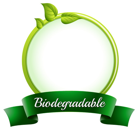 biodegradable: Illustration of an empty round template with a biodegradable label at the bottom on a white background