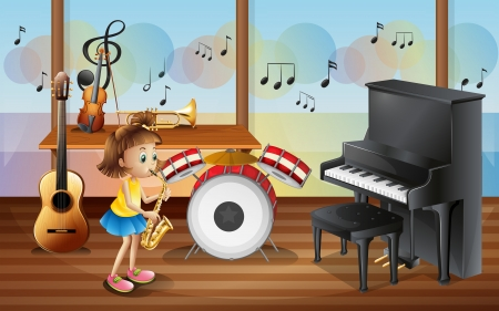 Illustration of a young girl surrounded with musical instruments