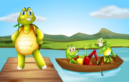 Illustration of a turtle at the bridge and the two playful frogs at the boat Vector