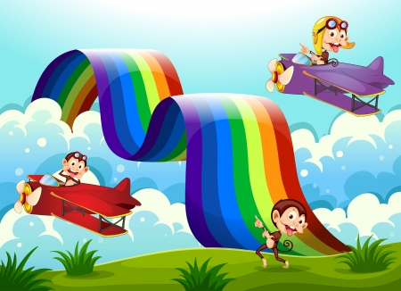 violet red: Illustration of a red and a violet plane with monkeys flying near the rainbow