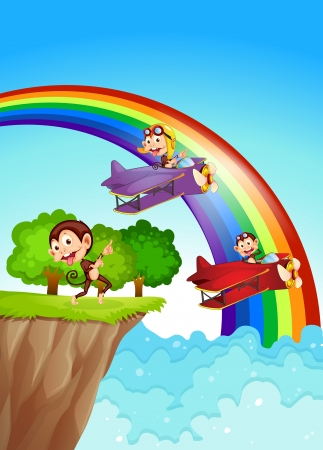 endpoint: Illustration of the playful monkeys at the cliff with a rainbow