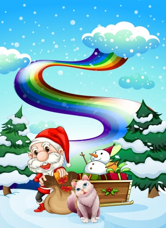 Illustration of Santa and his cat in a snowy area with a rainbow Vector