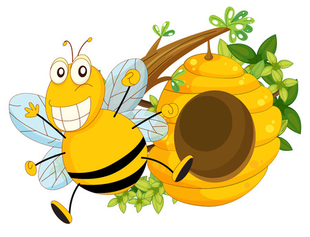Illustration of a branch of a tree with a beehive and a bee on a white background Vector