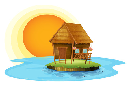 manmade: Illustration of an island with a small hut on a white background