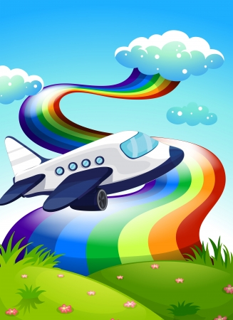 hilltop: Illustration of a jetplane near the hilltop with a rainbow