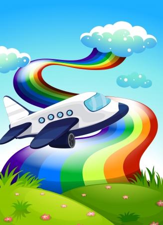 jetplane: Illustration of a jetplane near the hilltop with a rainbow