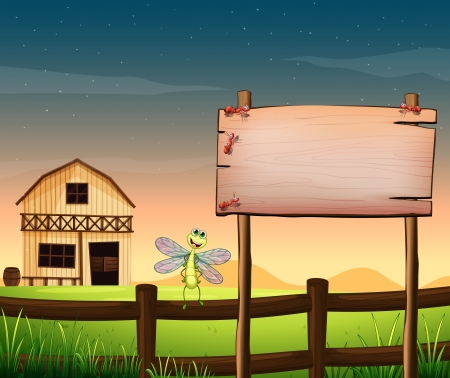 Illustration of an empty wooden board near the fence with a dragonfly Vector