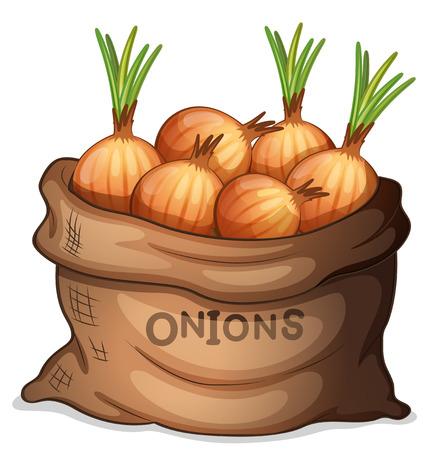 Illustratie van een zak uien op een witte achtergrond