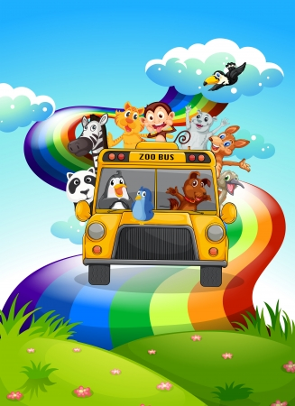 Illustration of a zoo bus travelling through the rainbow road Illustration