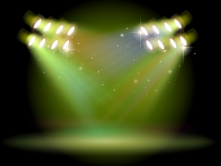 stageplay: Illustration of an empty stage with spotlights