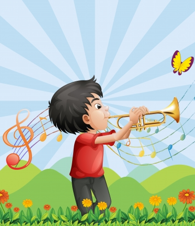 Illustration of a young man near the hill playing with the trumpet Vector