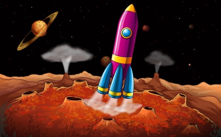 outerspace: Illustration of a rocket and planets at the outerspace