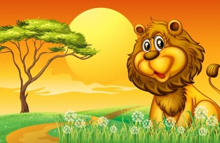 hilltop: Illustration of a lion at the hilltop