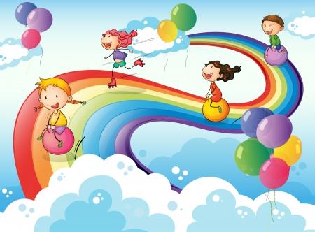 Ilustración de un grupo de niños jugando en el cielo con un arco iris