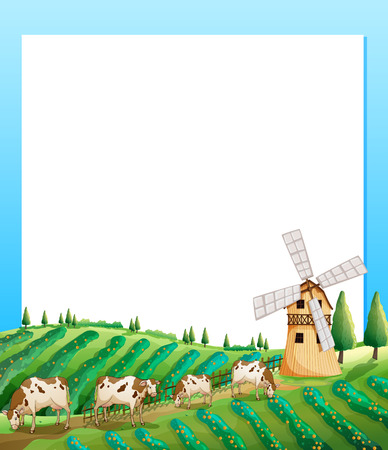 Illustration of an empty template with a farm and cows at the bottom Vector