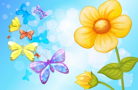 budding: Illustration of a big flower with butterflies