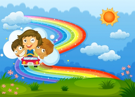 dream land: Illustration of the kids riding on a vehicle passing through the rainbow