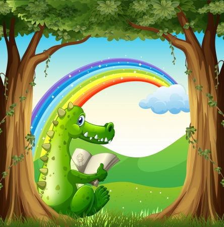 Illustration of a crocodile reading under the tree below the rainbow Vector