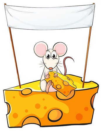 Illustration of a rat sitting above the cheese with an empty banner above on a white background Vector