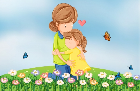 hilltop: Illustration of a hilltop with a mother comforting her child