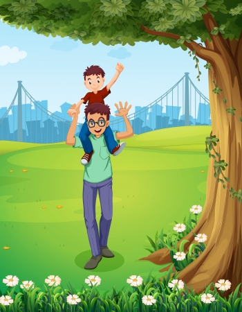 Illustration of a father carrying his son near the tree across the buildings Vector