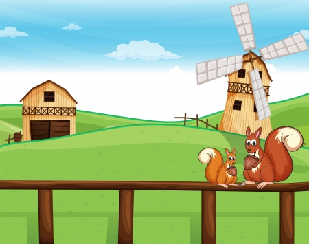 Illustration of the two squirrels above the fence across the barnhouses Vector