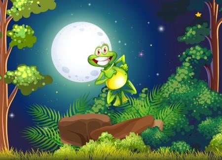 smiling frog: Ilustraci�n de una rana sonriente en el bosque