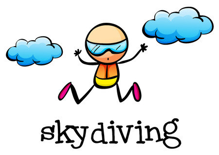 Illustration of a stickman skydiving on a white background Vector