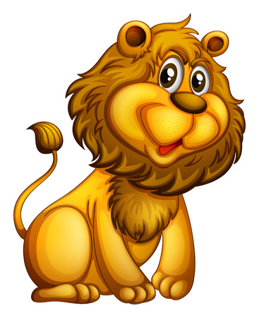 Illustration of a young lion on a white background Vector