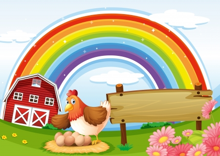 Illustration of a farm with a rainbow and an empty signboard Vector