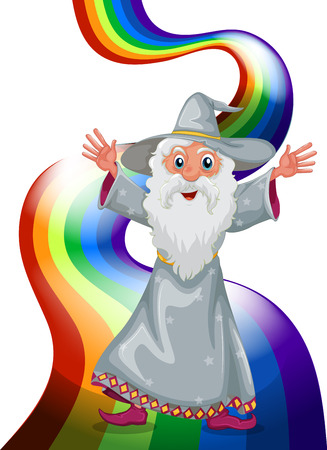Illustration of a wizard near the rainbow on a white background Vector