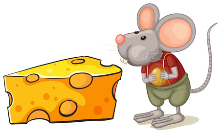 Illustration of a slice of cheese beside the mouse on a white background Vector