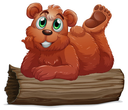 Illustration of a bear resting above the log on a white background Vector