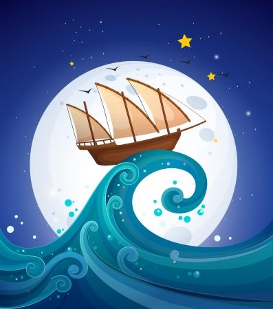 Illustratie van een houten boot boven de hoge golven Stock Illustratie