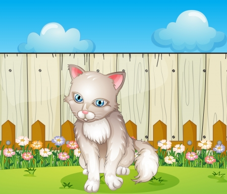 back ground: Illustration of a sad cat near the wooden fence