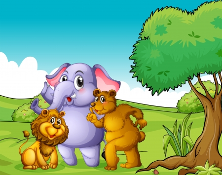 Illustration of an elephant, a lion and a bear near the tree Vector